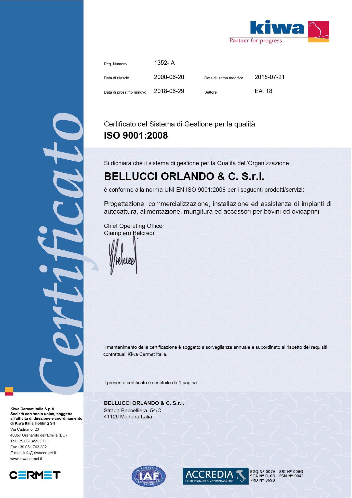 Certificato ISO 9001 Bellucci O. e C. S.r.l.